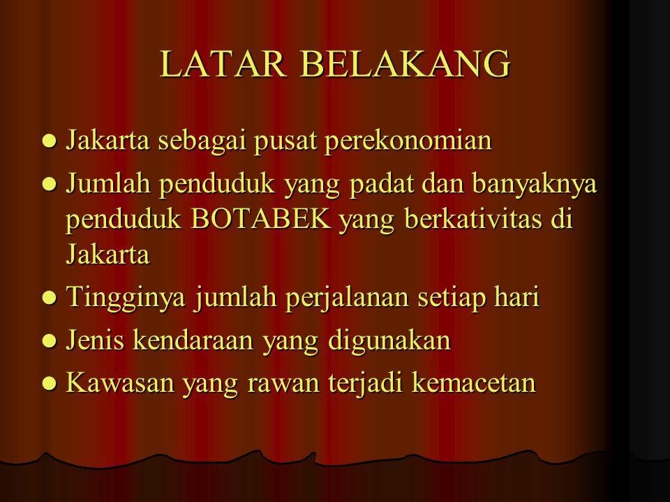 LATAR BELAKANG Jakarta sebagai pusat perekonomian Jakarta sebagai pusat perekonomian Jumlah penduduk yang padat dan banyaknya penduduk BOTABEK yang be