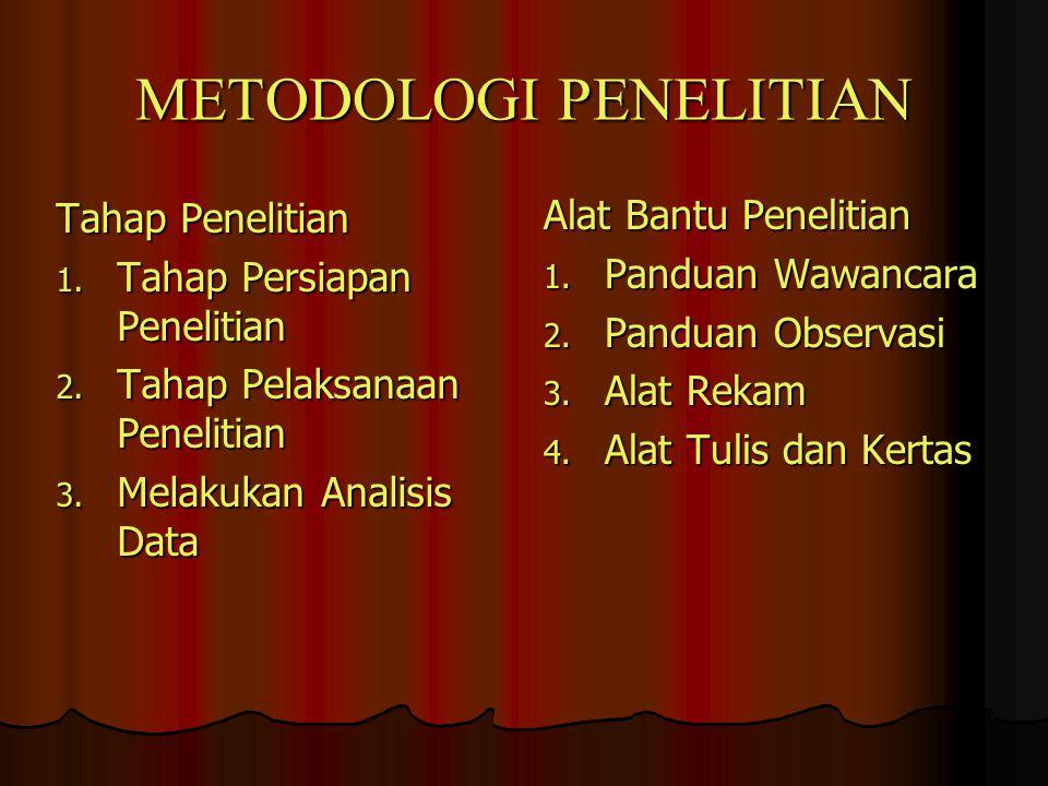 METODOLOGI PENELITIAN Tahap Penelitian 1. Tahap Persiapan Penelitian 2. Tahap Pelaksanaan Penelitian 3. Melakukan Analisis Data Alat Bantu Penelitian