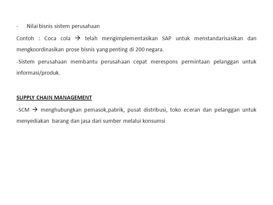 -Nilai bisnis sistem perusahaan Contoh : Coca cola  telah mengimplementasikan SAP untuk menstandarisasikan dan mengkoordinasikan prose bisnis yang pe