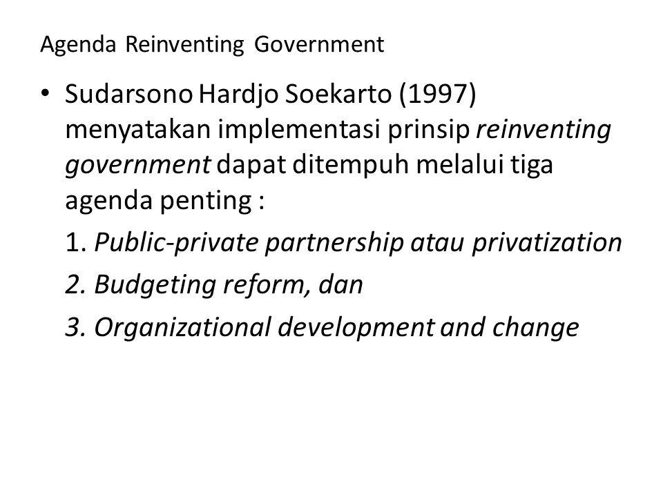 Agenda Reinventing Government Sudarsono Hardjo Soekarto (1997) menyatakan implementasi prinsip reinventing government dapat ditempuh melalui tiga agen
