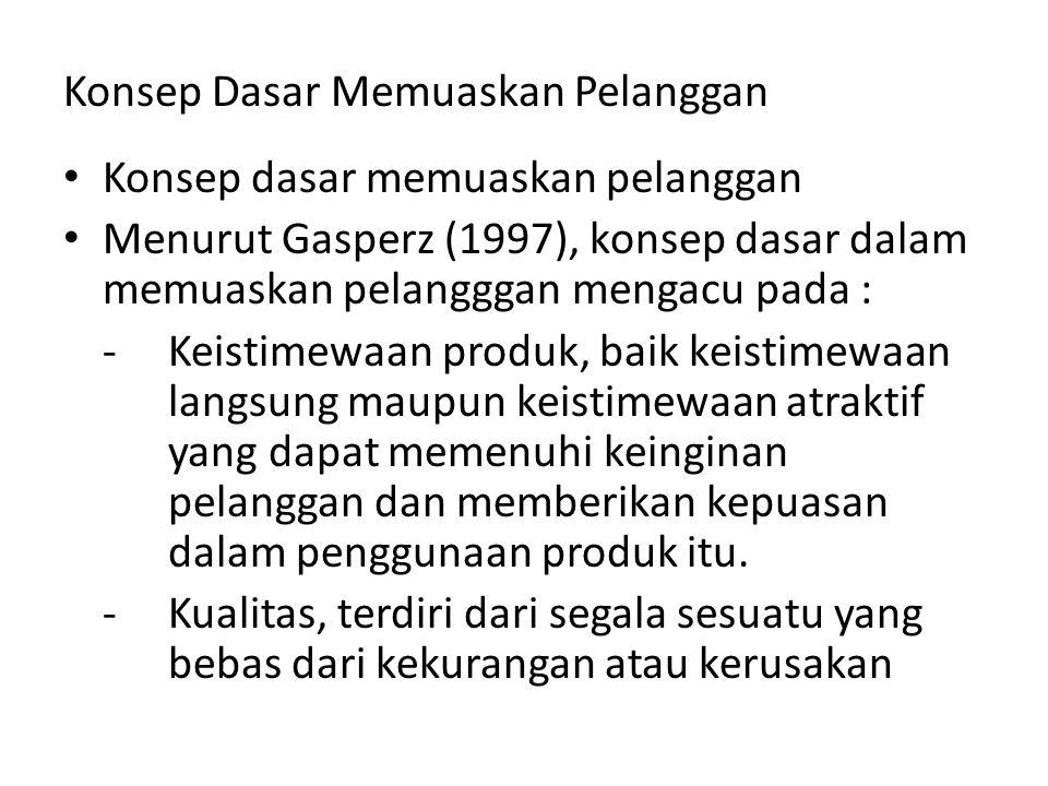 Konsep Dasar Memuaskan Pelanggan Konsep dasar memuaskan pelanggan Menurut Gasperz (1997), konsep dasar dalam memuaskan pelangggan mengacu pada : -Keis