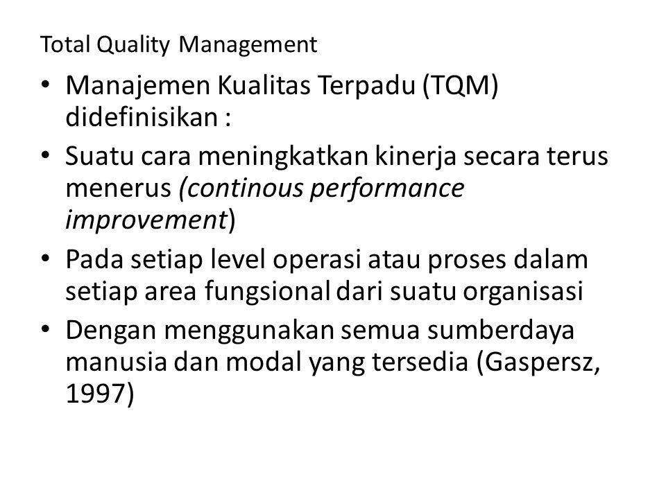 Total Quality Management Manajemen Kualitas Terpadu (TQM) didefinisikan : Suatu cara meningkatkan kinerja secara terus menerus (continous performance