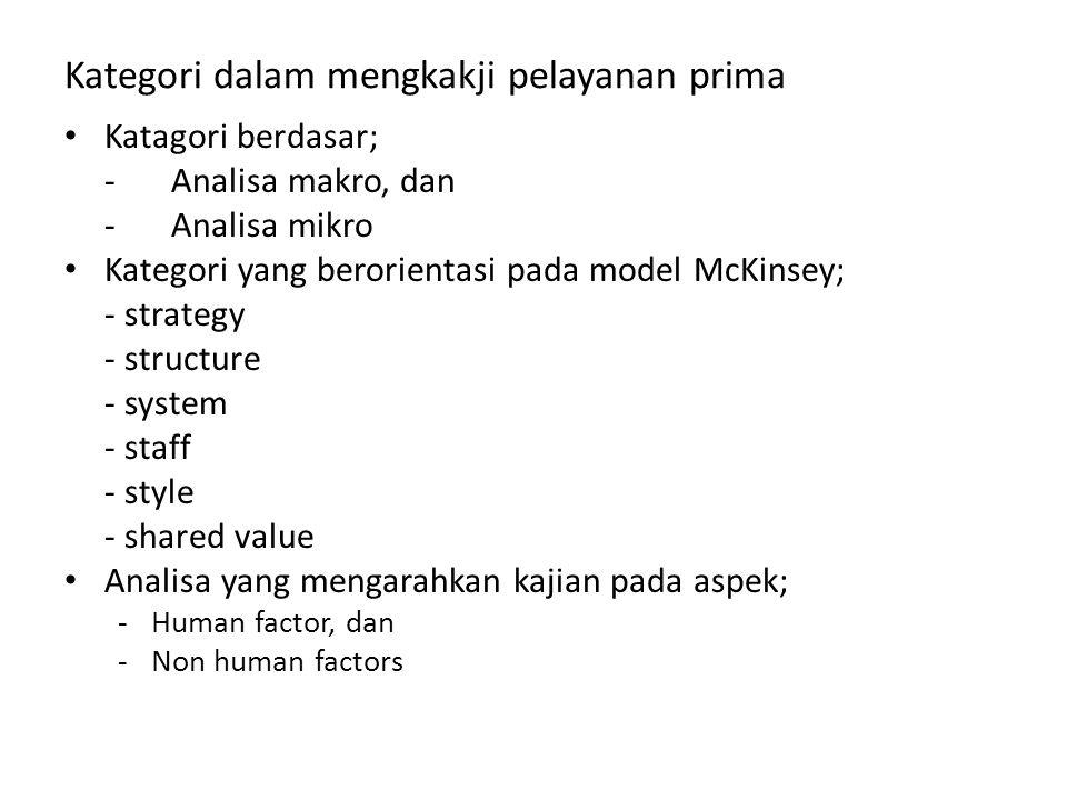Kategori dalam mengkakji pelayanan prima Katagori berdasar; - Analisa makro, dan - Analisa mikro Kategori yang berorientasi pada model McKinsey; - str