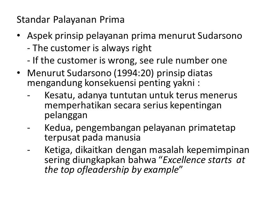Standar Palayanan Prima Aspek prinsip pelayanan prima menurut Sudarsono - The customer is always right - If the customer is wrong, see rule number one