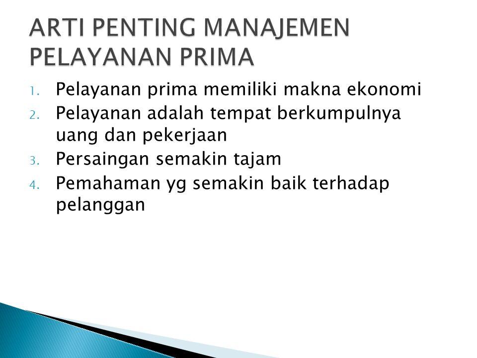 1. Pelayanan prima memiliki makna ekonomi 2. Pelayanan adalah tempat berkumpulnya uang dan pekerjaan 3. Persaingan semakin tajam 4. Pemahaman yg semak