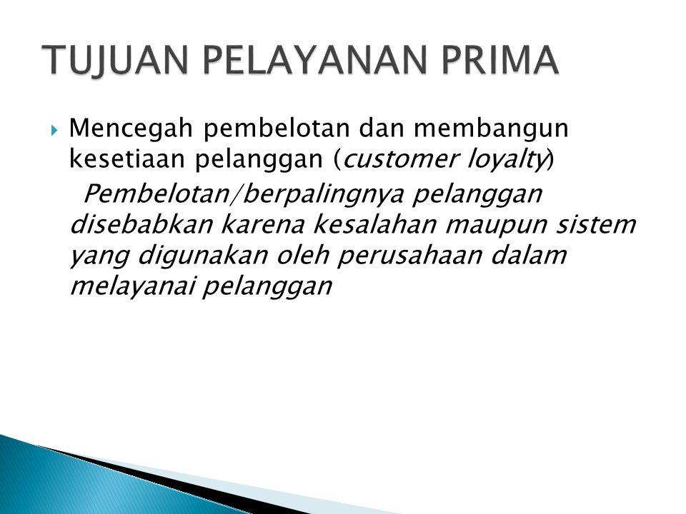 Mencegah pembelotan dan membangun kesetiaan pelanggan (customer loyalty) Pembelotan/berpalingnya pelanggan disebabkan karena kesalahan maupun sistem