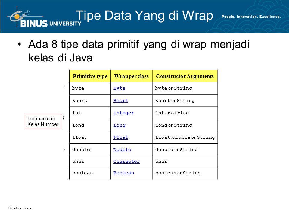 Bina Nusantara Tipe Data Yang di Wrap ( lanjutan..