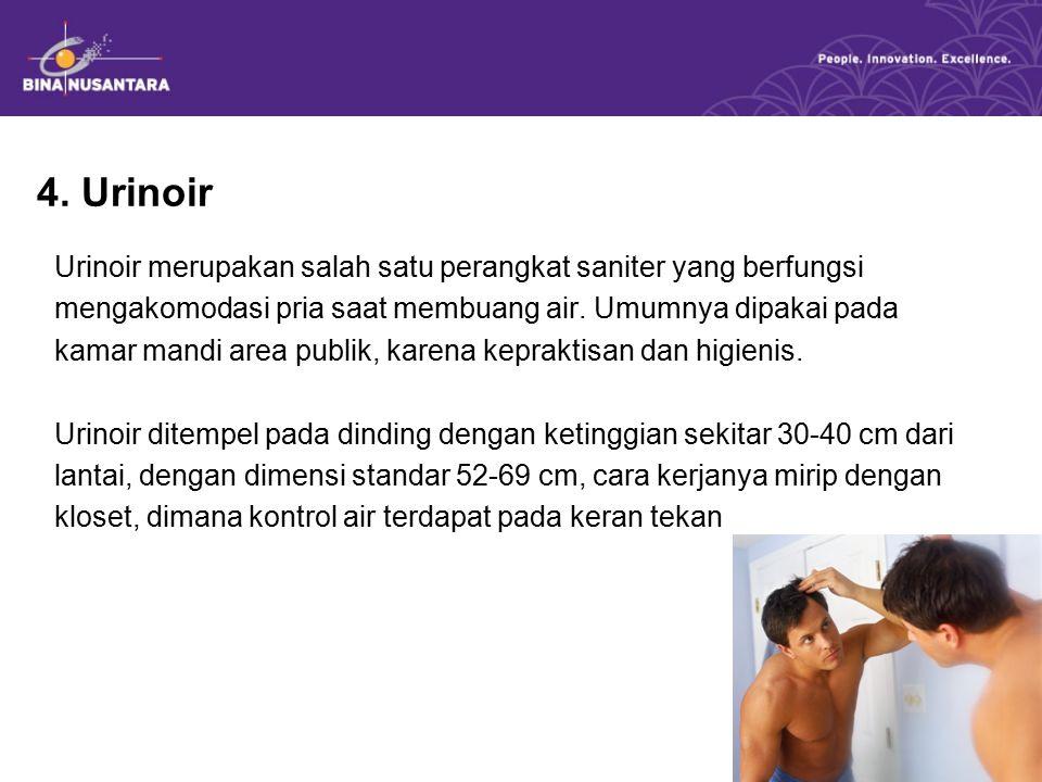 4. Urinoir Urinoir merupakan salah satu perangkat saniter yang berfungsi mengakomodasi pria saat membuang air. Umumnya dipakai pada kamar mandi area p