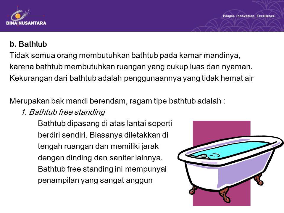 b. Bathtub Tidak semua orang membutuhkan bathtub pada kamar mandinya, karena bathtub membutuhkan ruangan yang cukup luas dan nyaman. Kekurangan dari b