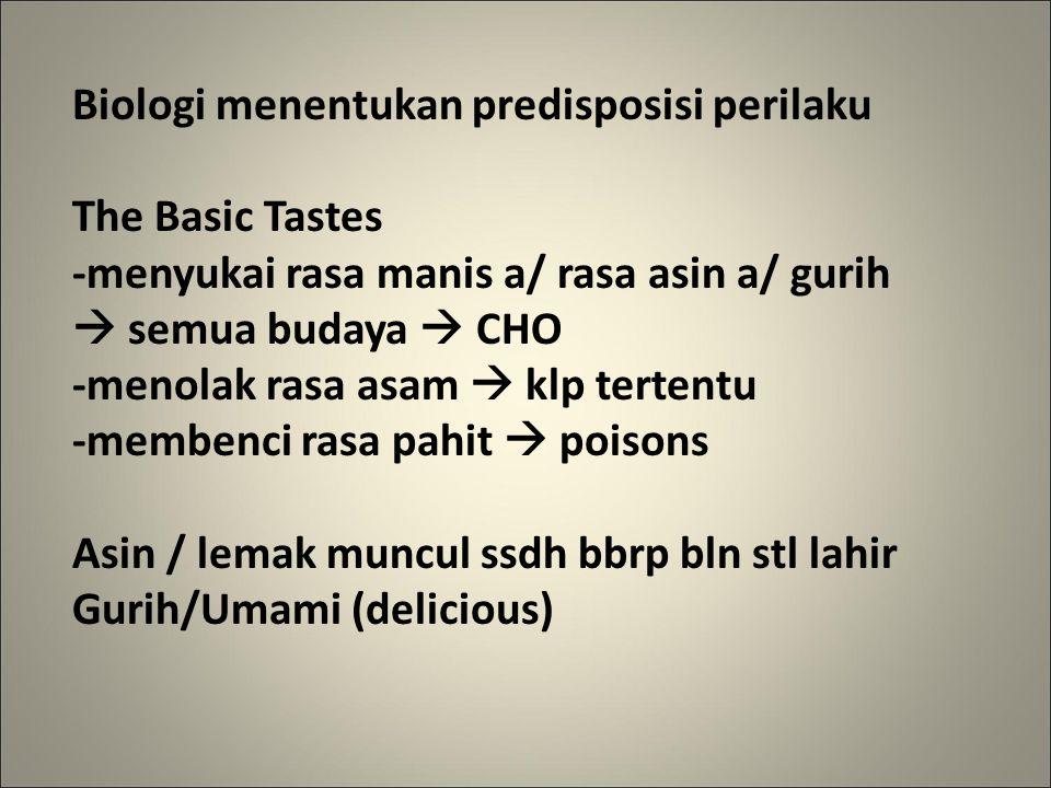 Biologi menentukan predisposisi perilaku The Basic Tastes -menyukai rasa manis a/ rasa asin a/ gurih  semua budaya  CHO -menolak rasa asam  klp tertentu -membenci rasa pahit  poisons Asin / lemak muncul ssdh bbrp bln stl lahir Gurih/Umami (delicious)