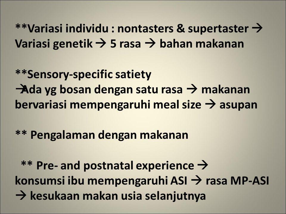 **Variasi individu : nontasters & supertaster  Variasi genetik  5 rasa  bahan makanan **Sensory-specific satiety  Ada yg bosan dengan satu rasa  makanan bervariasi mempengaruhi meal size  asupan ** Pengalaman dengan makanan ** Pre- and postnatal experience  konsumsi ibu mempengaruhi ASI  rasa MP-ASI  kesukaan makan usia selanjutnya