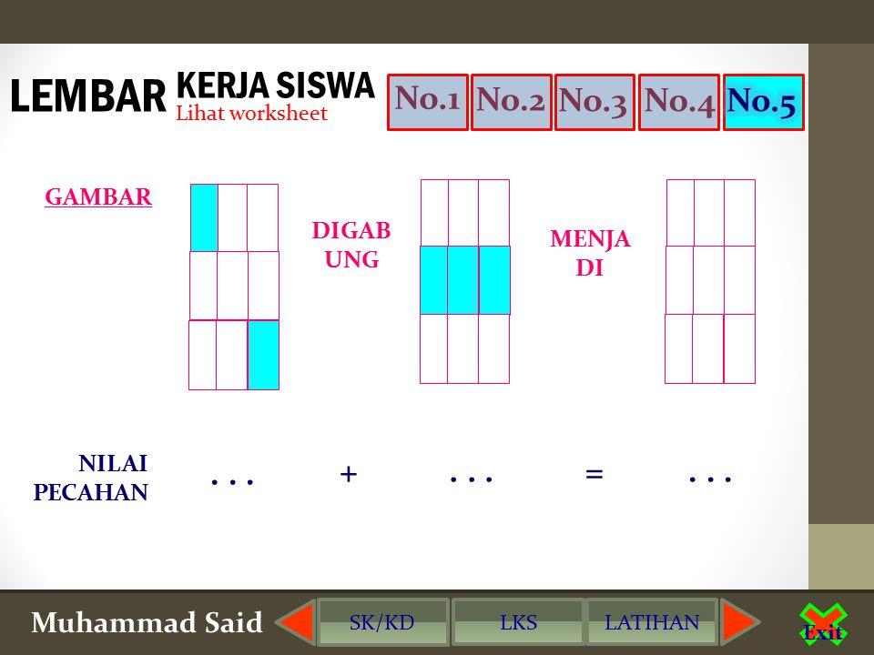 Muhammad Said Exit No.1 No.2 No.3No.5 KERJA SISWA Lihat worksheet LEMBAR DIGAB UNG MENJA DI GAMBAR NILAI PECAHAN...