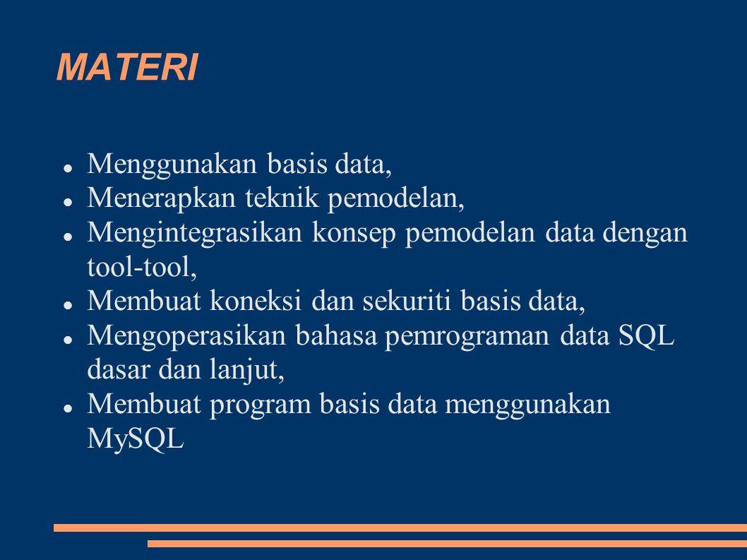 MATERI Menggunakan basis data, Menerapkan teknik pemodelan, Mengintegrasikan konsep pemodelan data dengan tool-tool, Membuat koneksi dan sekuriti basis data, Mengoperasikan bahasa pemrograman data SQL dasar dan lanjut, Membuat program basis data menggunakan MySQL
