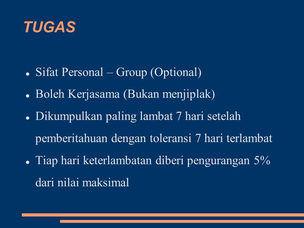 TUGAS Sifat Personal – Group (Optional) Boleh Kerjasama (Bukan menjiplak) Dikumpulkan paling lambat 7 hari setelah pemberitahuan dengan toleransi 7 hari terlambat Tiap hari keterlambatan diberi pengurangan 5% dari nilai maksimal