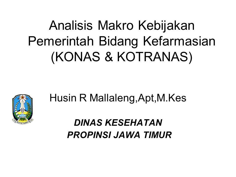 Analisis Makro Kebijakan Pemerintah Bidang Kefarmasian (KONAS & KOTRANAS) Husin R Mallaleng,Apt,M.Kes DINAS KESEHATAN PROPINSI JAWA TIMUR
