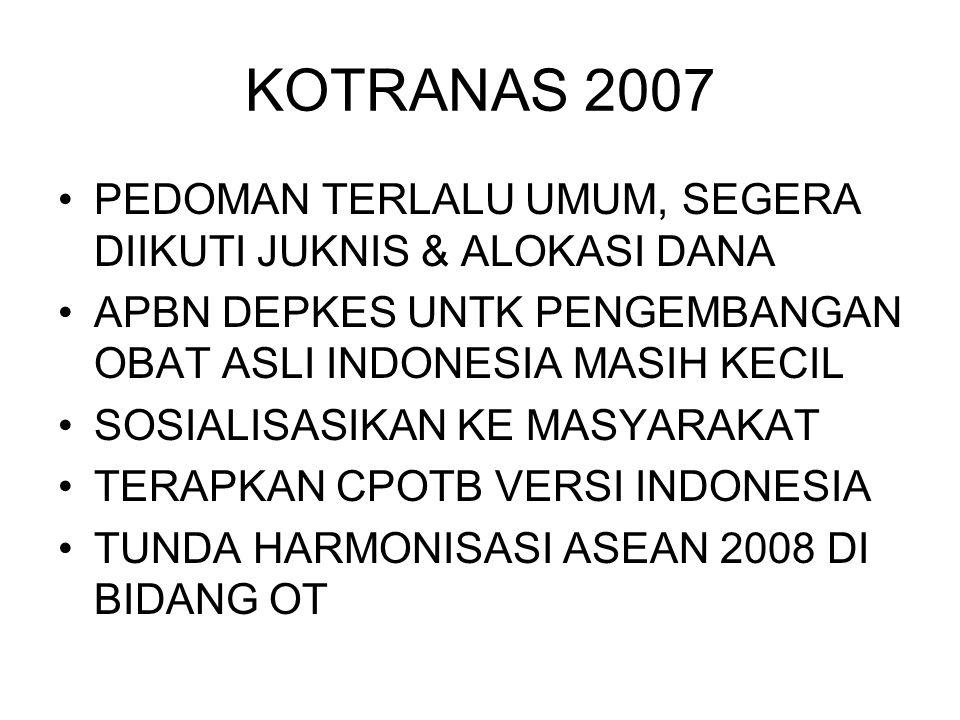 KOTRANAS 2007 PEDOMAN TERLALU UMUM, SEGERA DIIKUTI JUKNIS & ALOKASI DANA APBN DEPKES UNTK PENGEMBANGAN OBAT ASLI INDONESIA MASIH KECIL SOSIALISASIKAN KE MASYARAKAT TERAPKAN CPOTB VERSI INDONESIA TUNDA HARMONISASI ASEAN 2008 DI BIDANG OT