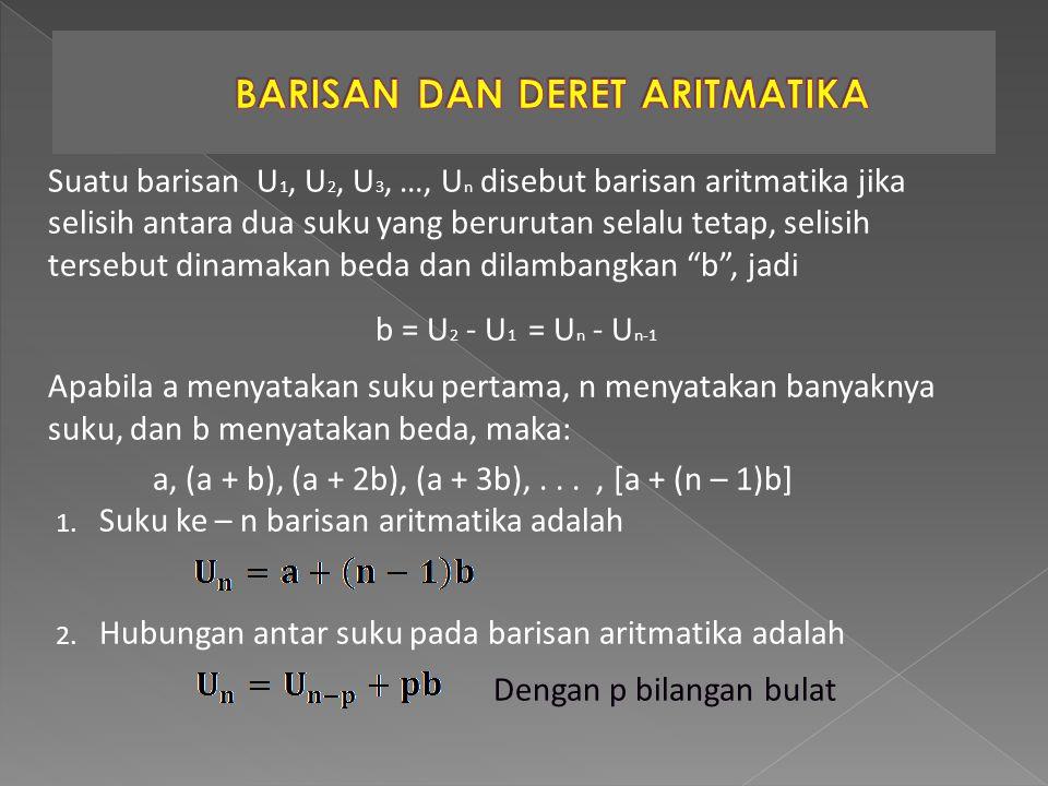 Suatu barisan U 1, U 2, U 3, …, U n disebut barisan aritmatika jika selisih antara dua suku yang berurutan selalu tetap, selisih tersebut dinamakan be
