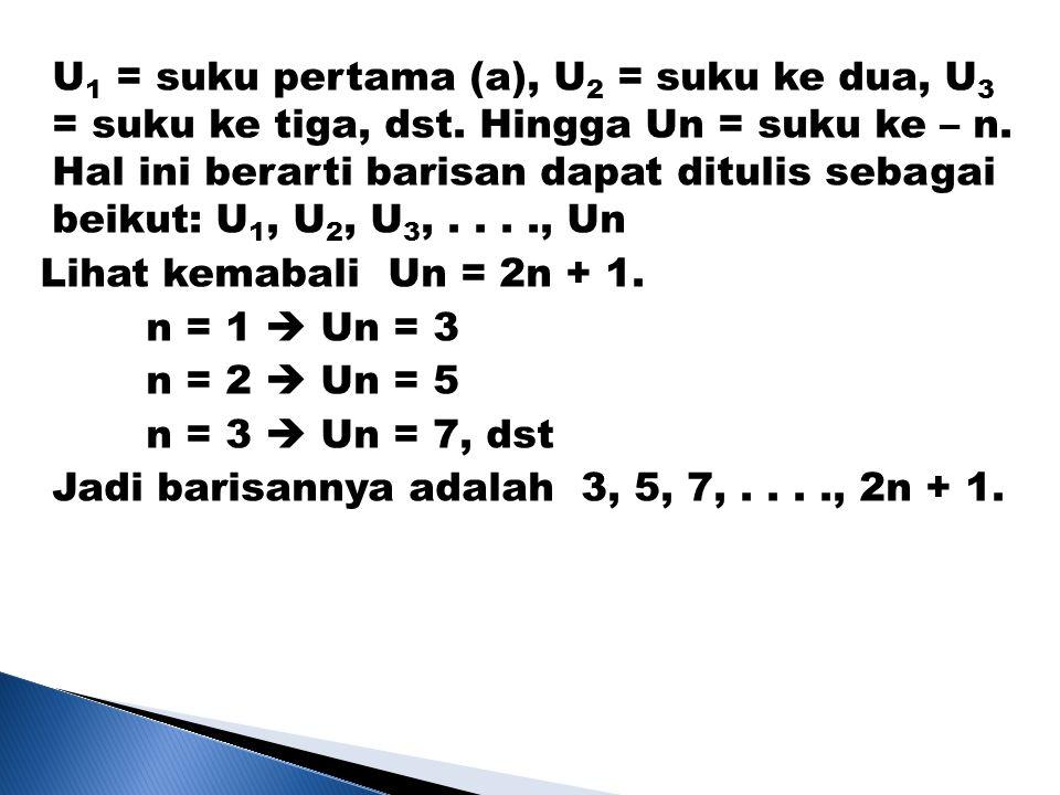 U 1 = suku pertama (a), U 2 = suku ke dua, U 3 = suku ke tiga, dst. Hingga Un = suku ke – n. Hal ini berarti barisan dapat ditulis sebagai beikut: U 1