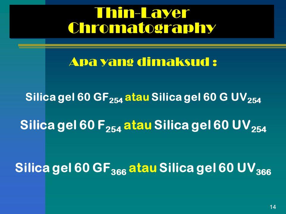 14 Thin-Layer Chromatography Apa yang dimaksud : Silica gel 60 GF 254 atau Silica gel 60 G UV 254 Silica gel 60 F 254 atau Silica gel 60 UV 254 Silica