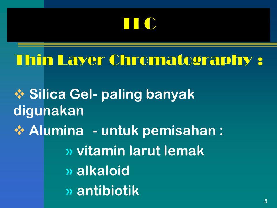 3 TLC Thin Layer Chromatography :  Silica Gel- paling banyak digunakan  Alumina- untuk pemisahan : » vitamin larut lemak » alkaloid » antibiotik