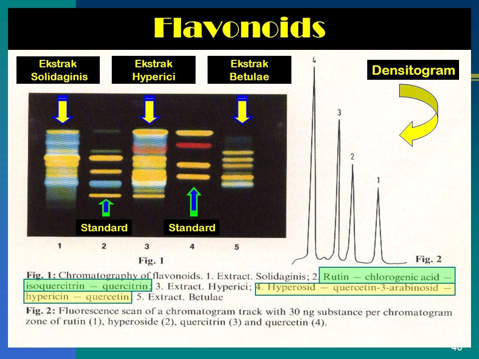 40 Flavonoids Ekstrak Solidaginis Ekstrak Hyperici Ekstrak Betulae Standard Densitogram