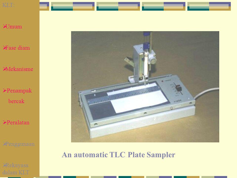 An automatic TLC Plate Sampler KLT:  Umum  Fase diam  Mekanisme  Penampak bercak  Peralatan  Penggunaan  Rekayasa dalam KLT