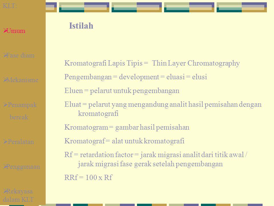 Kromatografi Lapis Tipis = Thin Layer Chromatography Pengembangan = development = eluasi = elusi Eluen = pelarut untuk pengembangan Eluat = pelarut ya