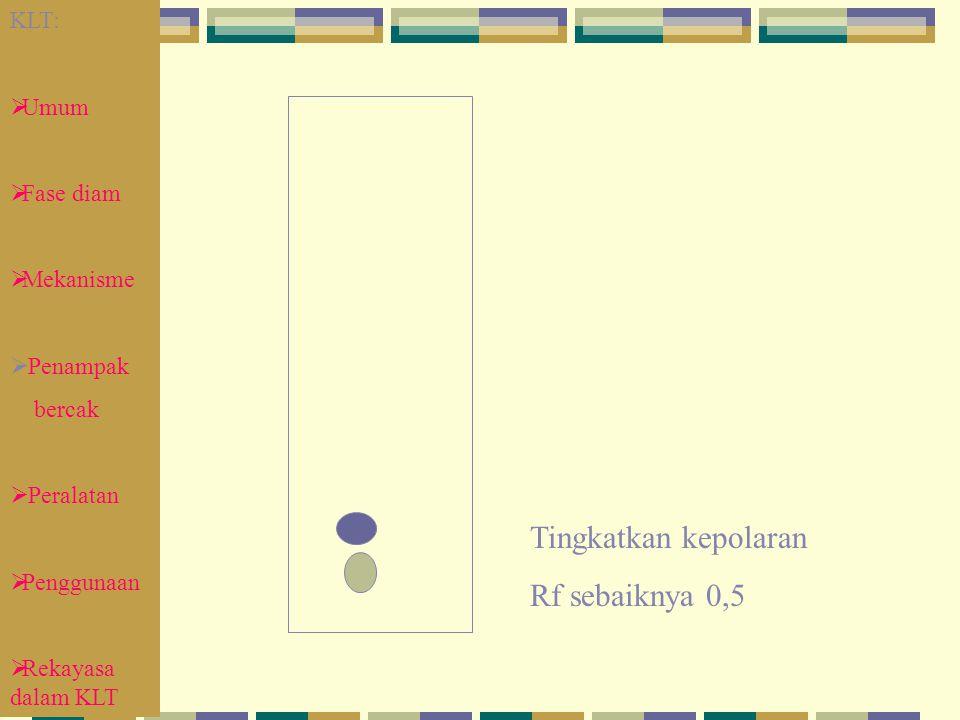 KLT:  Umum  Fase diam  Mekanisme  Penampak bercak  Peralatan  Penggunaan  Rekayasa dalam KLT Tingkatkan kepolaran Rf sebaiknya 0,5