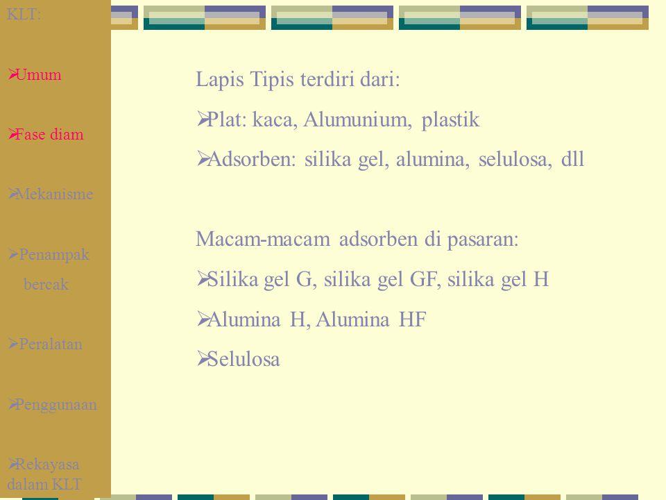 Lapis Tipis terdiri dari:  Plat: kaca, Alumunium, plastik  Adsorben: silika gel, alumina, selulosa, dll Macam-macam adsorben di pasaran:  Silika ge