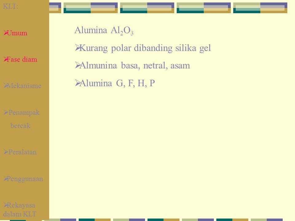 Alumina Al 2 O 3  Kurang polar dibanding silika gel  Almunina basa, netral, asam  Alumina G, F, H, P KLT:  Umum  Fase diam  Mekanisme  Penampak