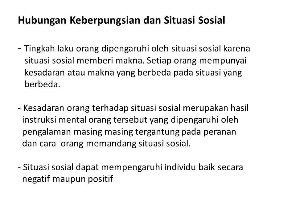 Hubungan Keberpungsian dan Situasi Sosial - Tingkah laku orang dipengaruhi oleh situasi sosial karena situasi sosial memberi makna. Setiap orang mempu