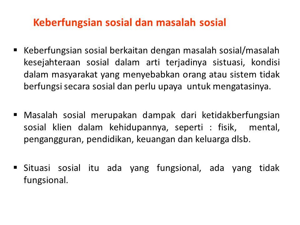 Keberfungsian sosial dan masalah sosial  Keberfungsian sosial berkaitan dengan masalah sosial/masalah kesejahteraan sosial dalam arti terjadinya sist