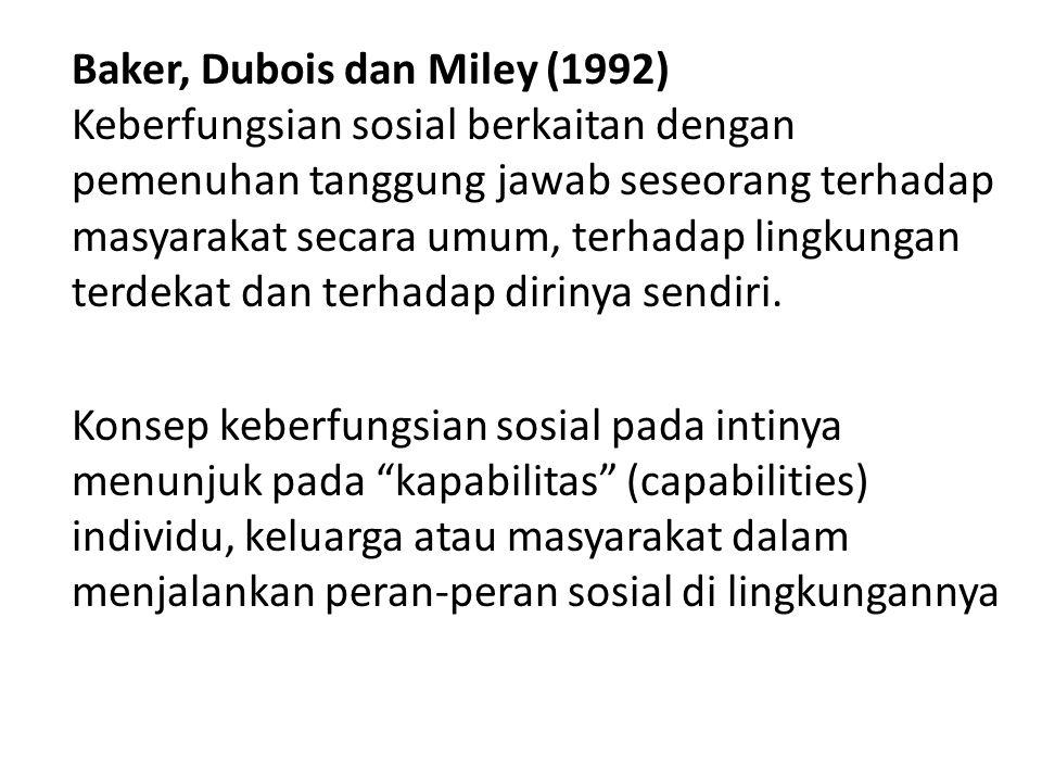 Baker, Dubois dan Miley (1992) Keberfungsian sosial berkaitan dengan pemenuhan tanggung jawab seseorang terhadap masyarakat secara umum, terhadap ling