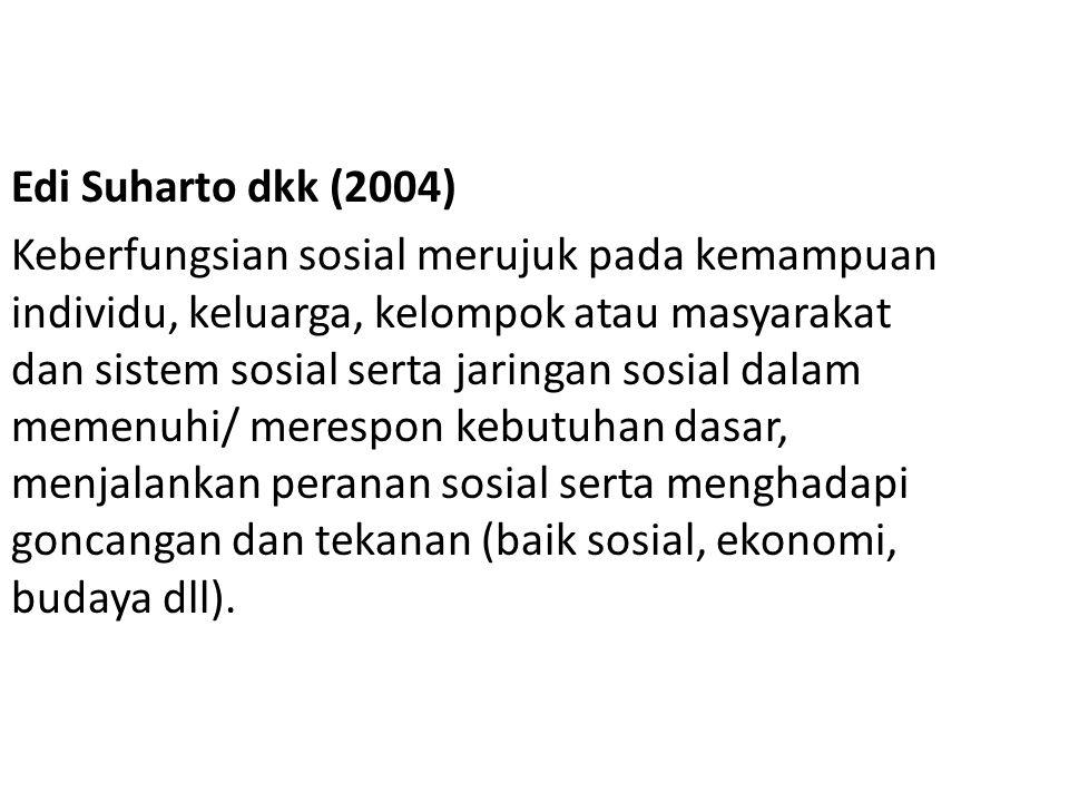 Edi Suharto dkk (2004) Keberfungsian sosial merujuk pada kemampuan individu, keluarga, kelompok atau masyarakat dan sistem sosial serta jaringan sosia