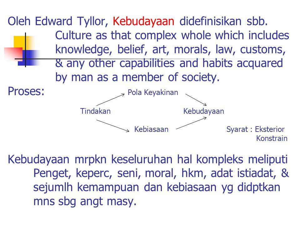 Oleh Edward Tyllor, Kebudayaan didefinisikan sbb.