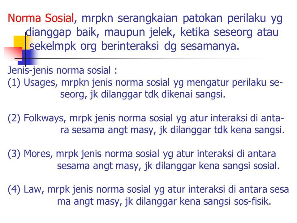 Norma Sosial, mrpkn serangkaian patokan perilaku yg dianggap baik, maupun jelek, ketika seseorg atau sekelmpk org berinteraksi dg sesamanya.