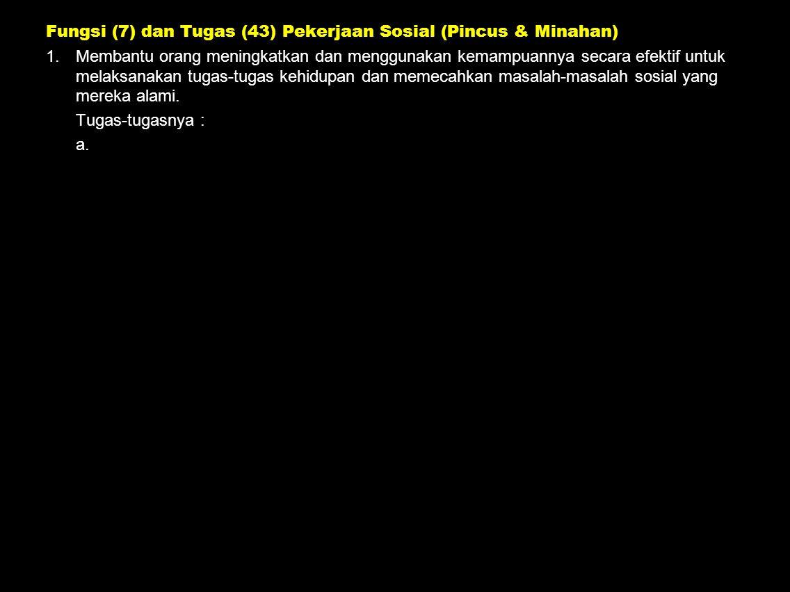 Fungsi (7) dan Tugas (43) Pekerjaan Sosial (Pincus & Minahan) 1.Membantu orang meningkatkan dan menggunakan kemampuannya secara efektif untuk melaksan