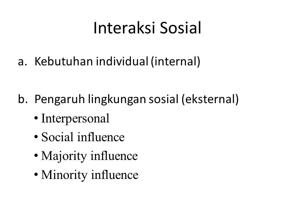 Interaksi Sosial a.Kebutuhan individual (internal) b.Pengaruh lingkungan sosial (eksternal) Interpersonal Social influence Majority influence Minority
