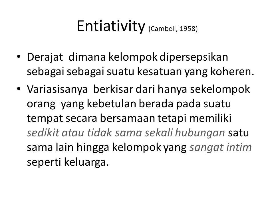 Entiativity (Cambell, 1958) Derajat dimana kelompok dipersepsikan sebagai sebagai suatu kesatuan yang koheren. Variasisanya berkisar dari hanya sekelo