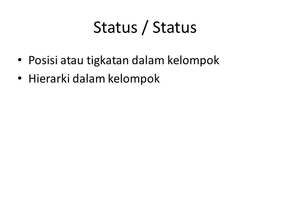 Status / Status Posisi atau tigkatan dalam kelompok Hierarki dalam kelompok