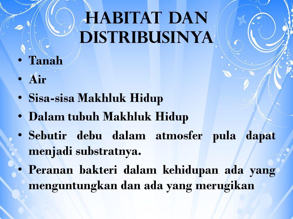Habitat dan Distribusinya Tanah Air Sisa-sisa Makhluk Hidup Dalam tubuh Makhluk Hidup Sebutir debu dalam atmosfer pula dapat menjadi substratnya. Pera