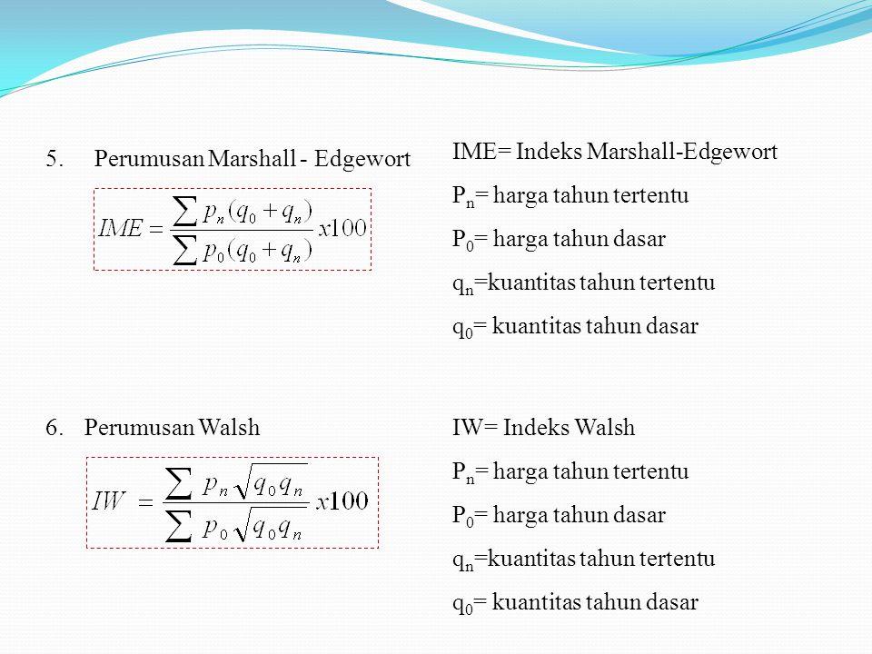 6. Perumusan Walsh 5.Perumusan Marshall - Edgewort IME= Indeks Marshall-Edgewort P n = harga tahun tertentu P 0 = harga tahun dasar q n =kuantitas tah