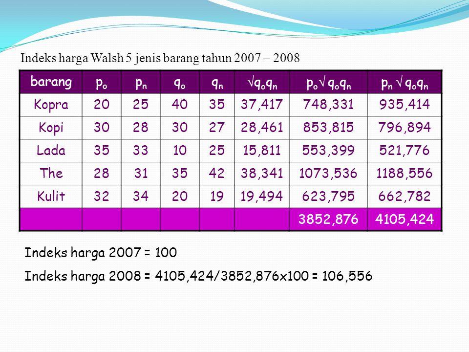 Indeks harga Walsh 5 jenis barang tahun 2007 – 2008 barangpopo pnpn qoqo qnqn qoqnqoqn po qoqnpo qoqn p n  q o q n Kopra2025403537,417748,331935,
