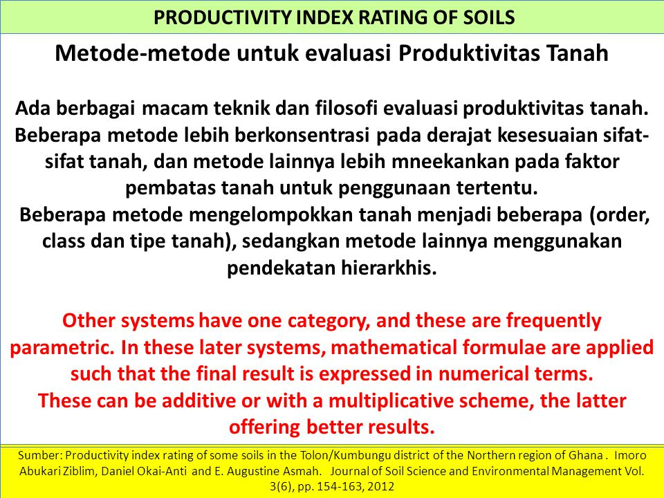 PRODUCTIVITY INDEX RATING OF SOILS Sumber: Productivity index rating of some soils in the Tolon/Kumbungu district of the Northern region of Ghana. Imo