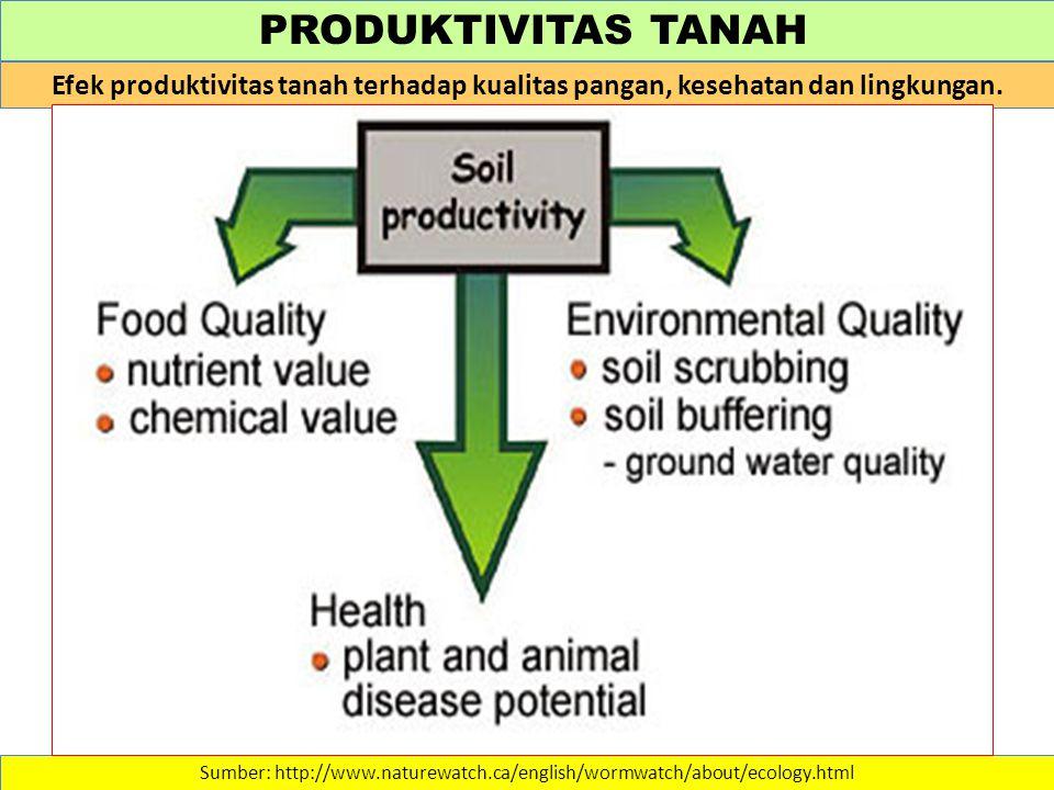 PRODUKTIVITAS TANAH Sumber: http://www.naturewatch.ca/english/wormwatch/about/ecology.html Efek produktivitas tanah terhadap kualitas pangan, kesehatan dan lingkungan.