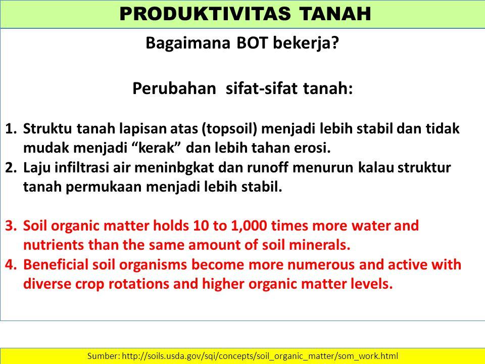 PRODUKTIVITAS TANAH Sumber: http://soils.usda.gov/sqi/concepts/soil_organic_matter/som_work.html Bagaimana BOT bekerja? Perubahan sifat-sifat tanah: 1