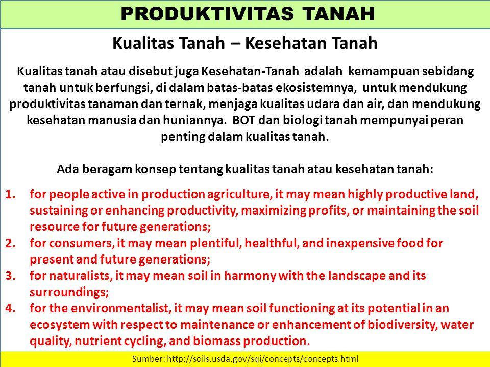 PRODUKTIVITAS TANAH Sumber: http://soils.usda.gov/sqi/concepts/concepts.html Kualitas Tanah – Kesehatan Tanah Kualitas tanah atau disebut juga Kesehatan-Tanah adalah kemampuan sebidang tanah untuk berfungsi, di dalam batas-batas ekosistemnya, untuk mendukung produktivitas tanaman dan ternak, menjaga kualitas udara dan air, dan mendukung kesehatan manusia dan huniannya.