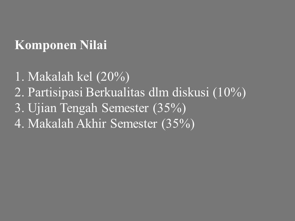 Komponen Nilai 1. Makalah kel (20%) 2. Partisipasi Berkualitas dlm diskusi (10%) 3. Ujian Tengah Semester (35%) 4. Makalah Akhir Semester (35%)
