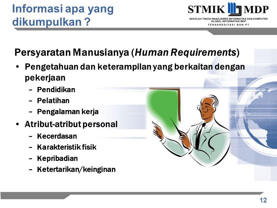 12 Persyaratan Manusianya (Human Requirements) Pengetahuan dan keterampilan yang berkaitan dengan pekerjaan –Pendidikan –Pelatihan –Pengalaman kerja A