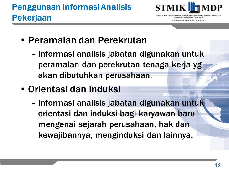 18 Peramalan dan Perekrutan –Informasi analisis jabatan digunakan untuk peramalan dan perekrutan tenaga kerja yg akan dibutuhkan perusahaan. Orientasi